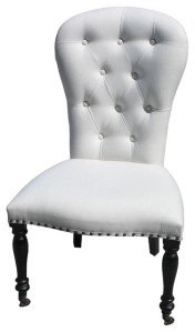 White Tufted Leather Chair