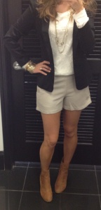 Blazer + Shorts + Lace Top + Ankle Boots