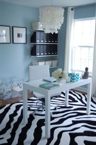 Parsons Desk + Chandelier + Zebra Rug