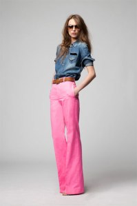 Pink Wide Leg Pants + Chambray Shirt