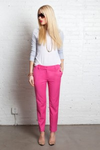 Pink Cuffed Trousers + Long Sleeve Tee