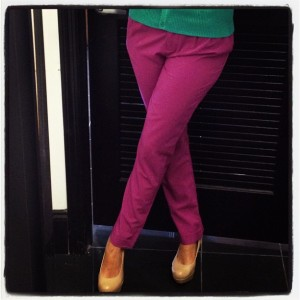 Pink Cropped Trousers + Jewel Tone Cardigan