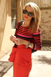 peplum maxi + striped tee