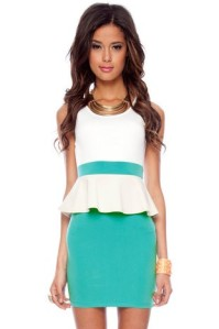turquoise peplum dress