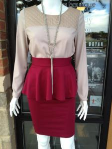 wine peplum skirt + leather trimmed blouse