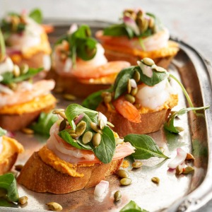 Pumpkin Shrimp Bruschetta