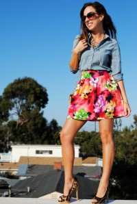 Chambray + Floral Skirt
