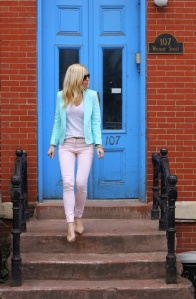 Mint Blazer + Pink Skinnies