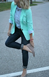 Mint Blazer + Dark Skinnies