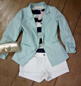 Mint Blazer + White Shorts