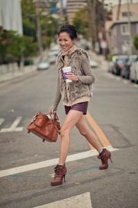 Fur Vest + Leather Shorts + Heels