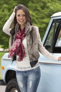 Skinny Jean + Lace Tee + Fur Vest