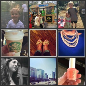 birthday boy on the trampoline / / snow cone truck / / jays sweet niece and nephew / / saturday starbucks / / breaking in a new pair of heels / / blue&baubles to watch the UK game / / loose curls / / gorg day in ATL / / essie tart deco mani