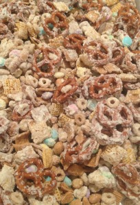 white chocolate snack mix.
