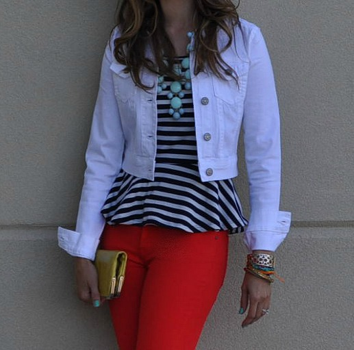 The Glitter Life Striped Peplum + Skinnies