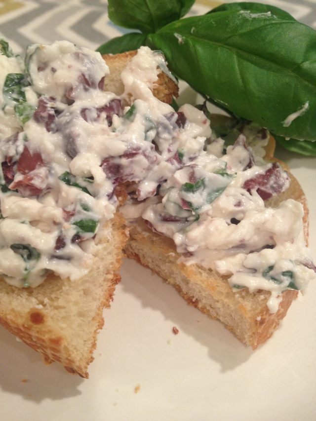 The Glitter Life Kalamata Basil Spread Recipe