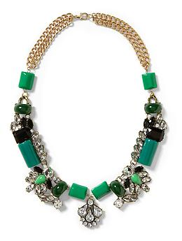 Green With Envy Statement Necklace - Green/clear/gold