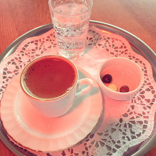 the most adorable presentation for Turkish coffee including chocolate covered espresso beans!