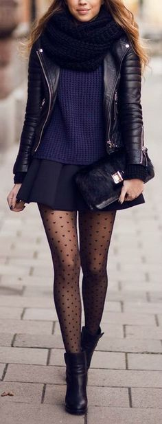 polka dot tights are the perfect finishing touch to this navy + black mix.